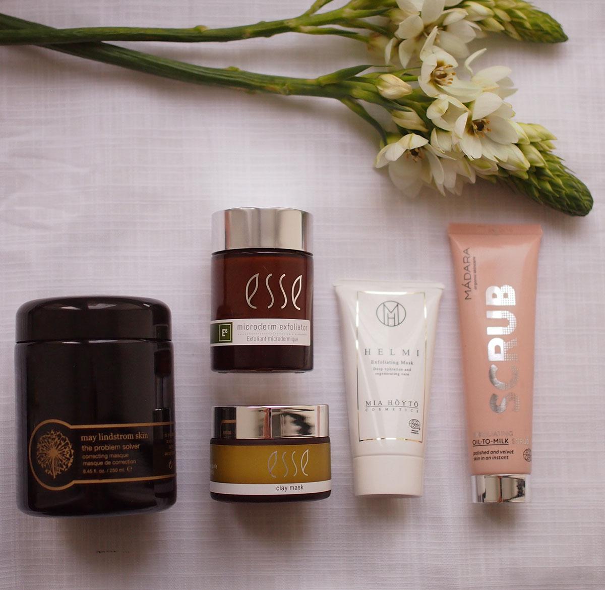 rasvainen iho savinaamiot ja kuorinnat